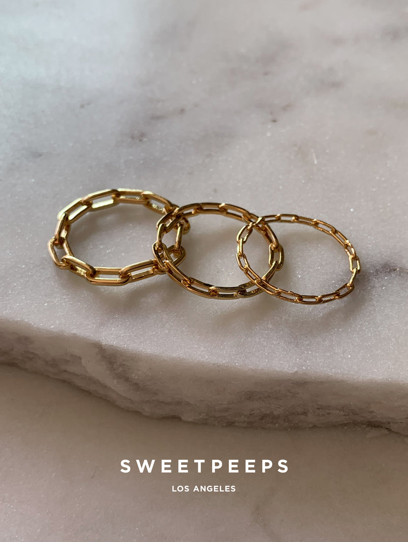 18 Gold Dipped Chain Ring Set