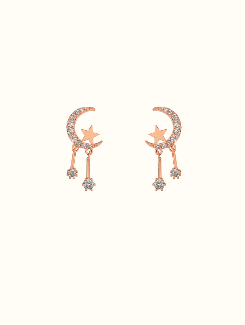 Moon & Star Dangle Studs