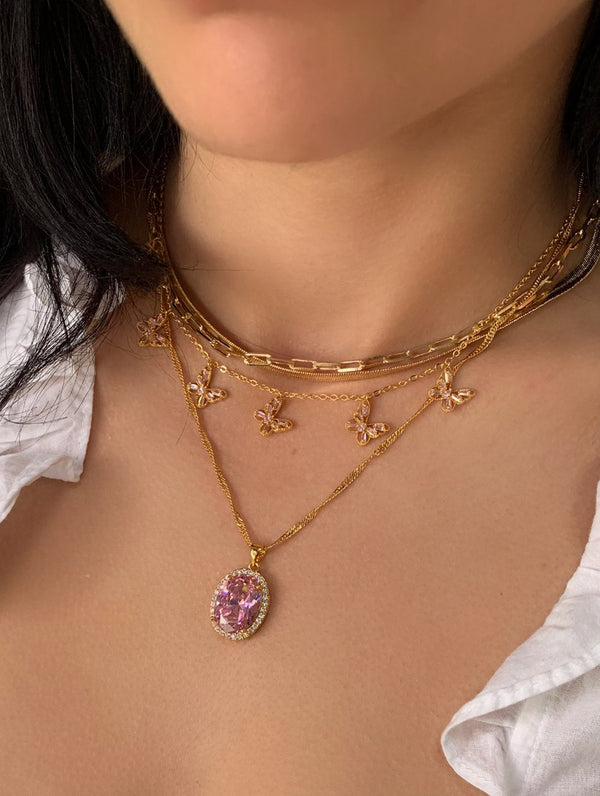 18K Gold Filled Lavender Oval Stone Necklace