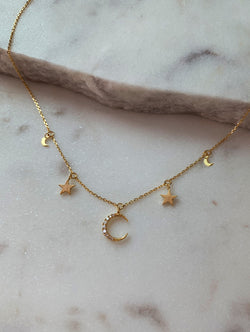 18K Gold Dipped Moon & Stars Necklace
