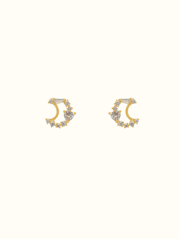 Jewel Encrusted Crescent Studs