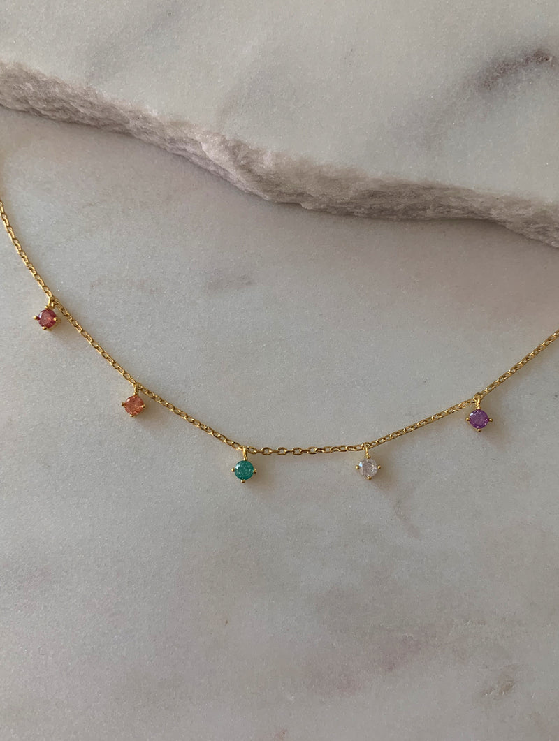 18K Gold Dipped Colorful Beaded Necklace