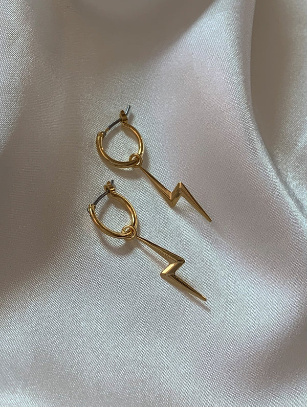 Large Lightning Bolt Hoops