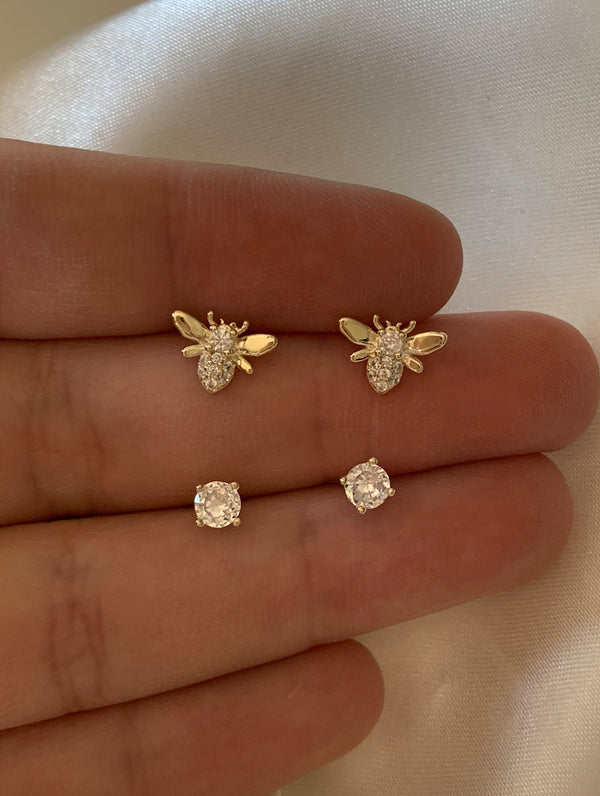 Sterling Silver Tiny Bee & Diamond Stud Set