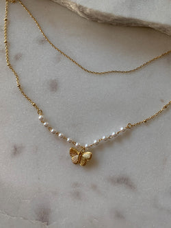 Double Layered Pearl Butterfly Necklace (Pearl)