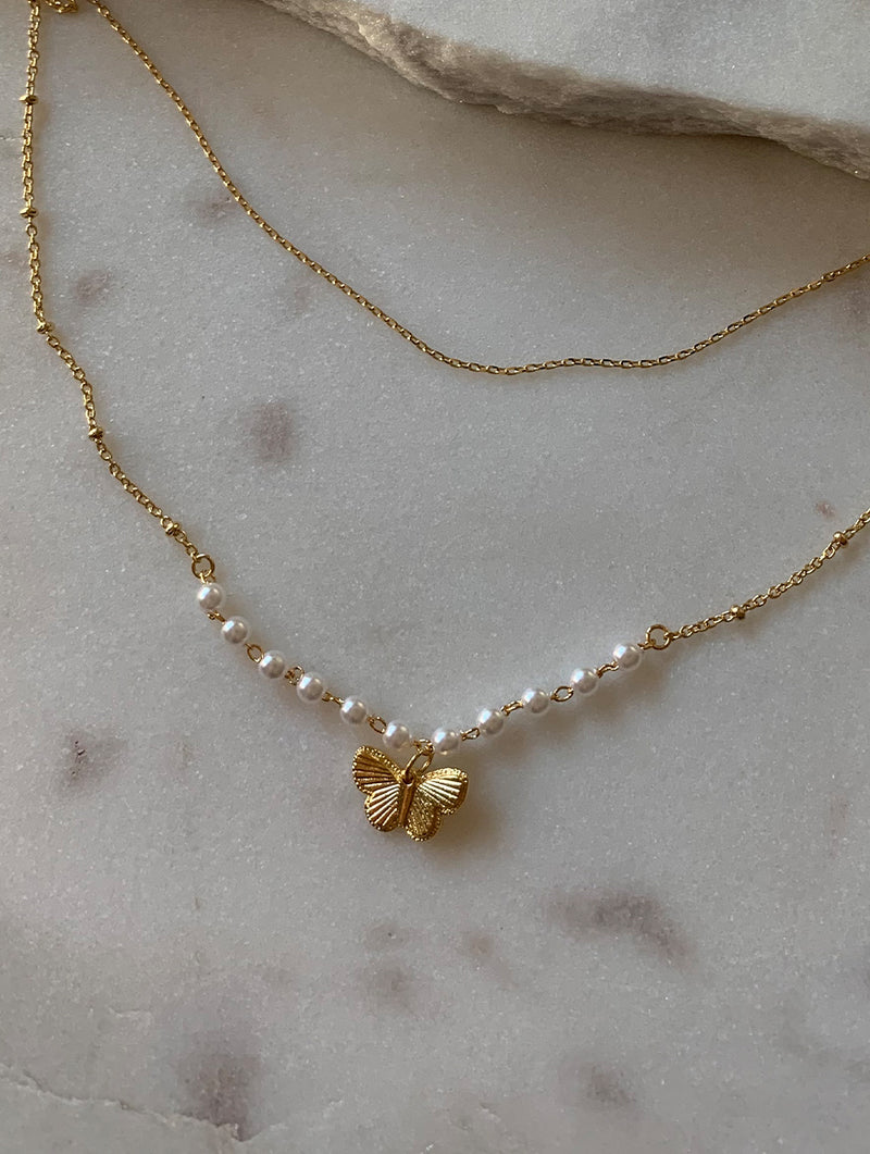 Double Layered Pearl Butterfly Necklace (P)