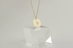 Large Disc Handwriting Necklace