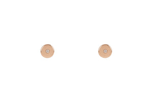 Gold Disk Diamond Earrings