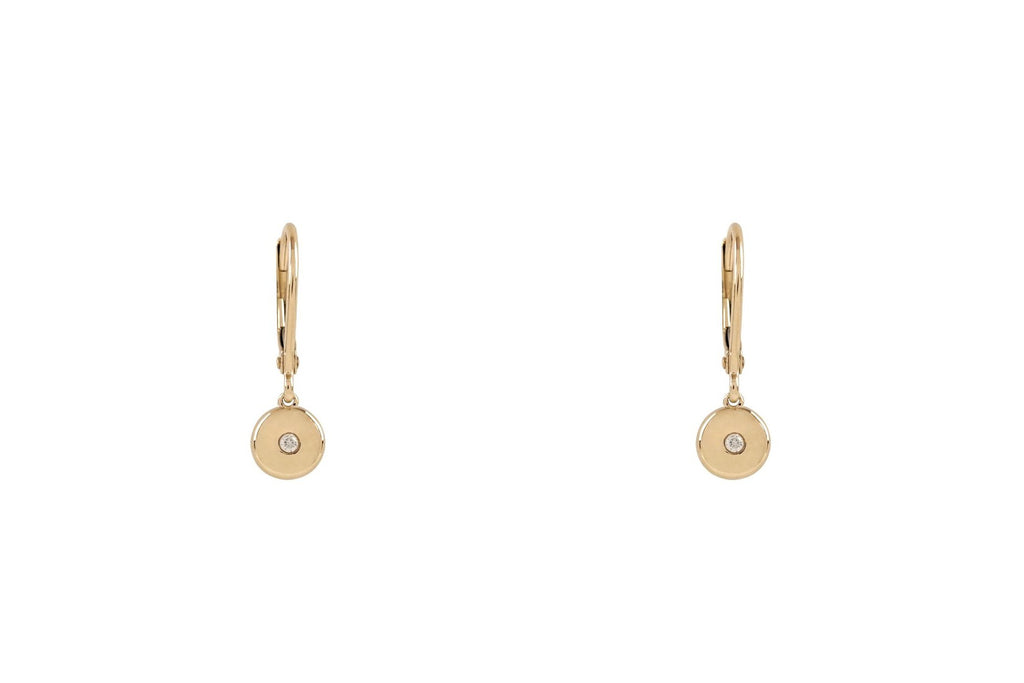 Gold Disk Diamond Drop Earrings