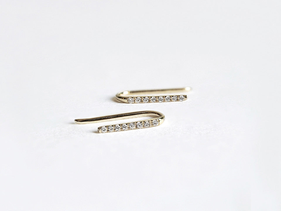 14k Gold Diamond Line Ear Climber