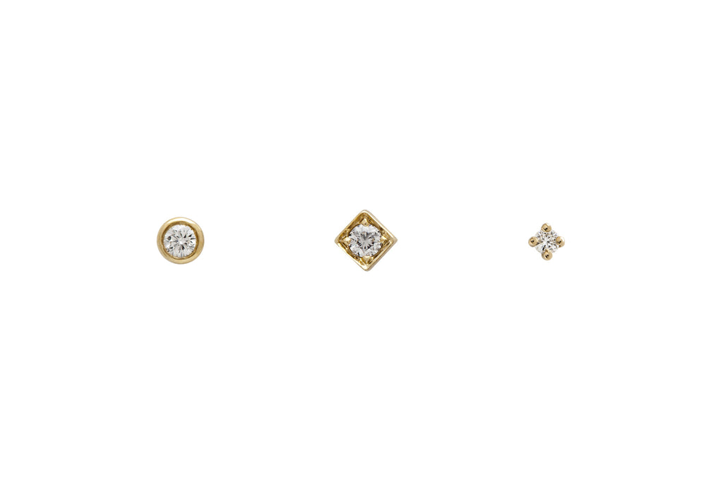 Minimalist Diamond Stud Earrings Trio