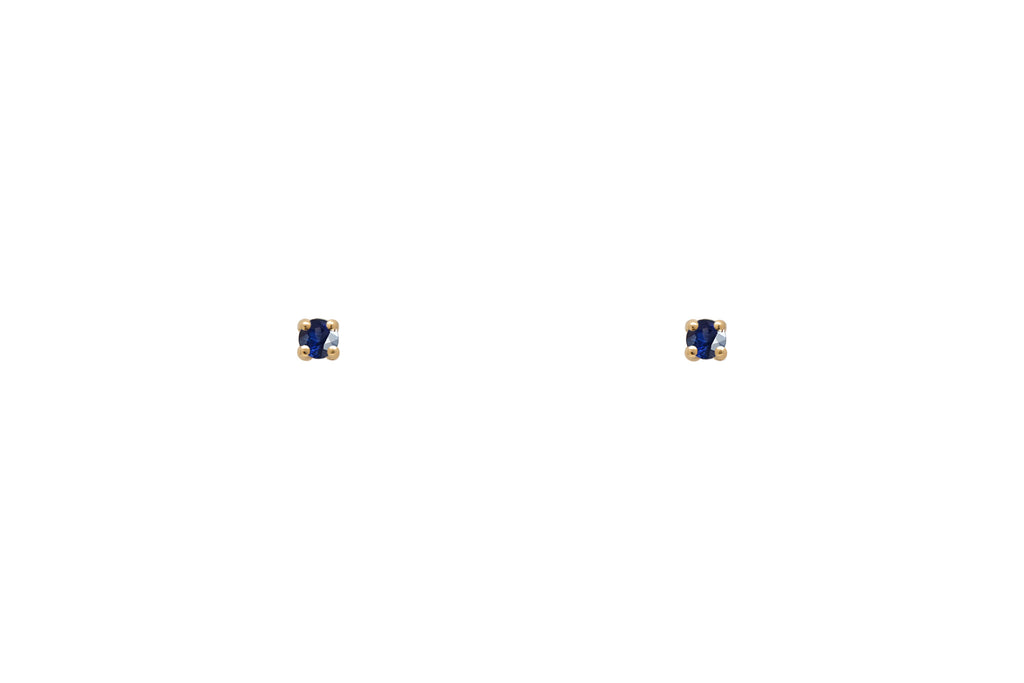 Tiny Blue Sapphire Stud Earrings