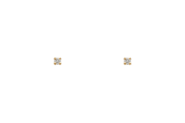 Tiny White Diamond Stud Earrings
