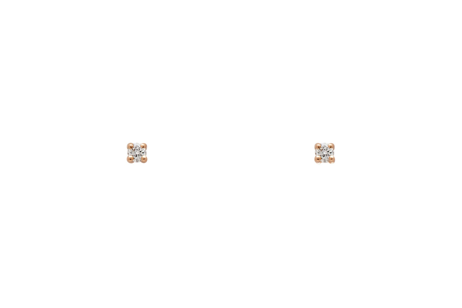 Tiny White Diamond Stud Earrings - Rose Gold