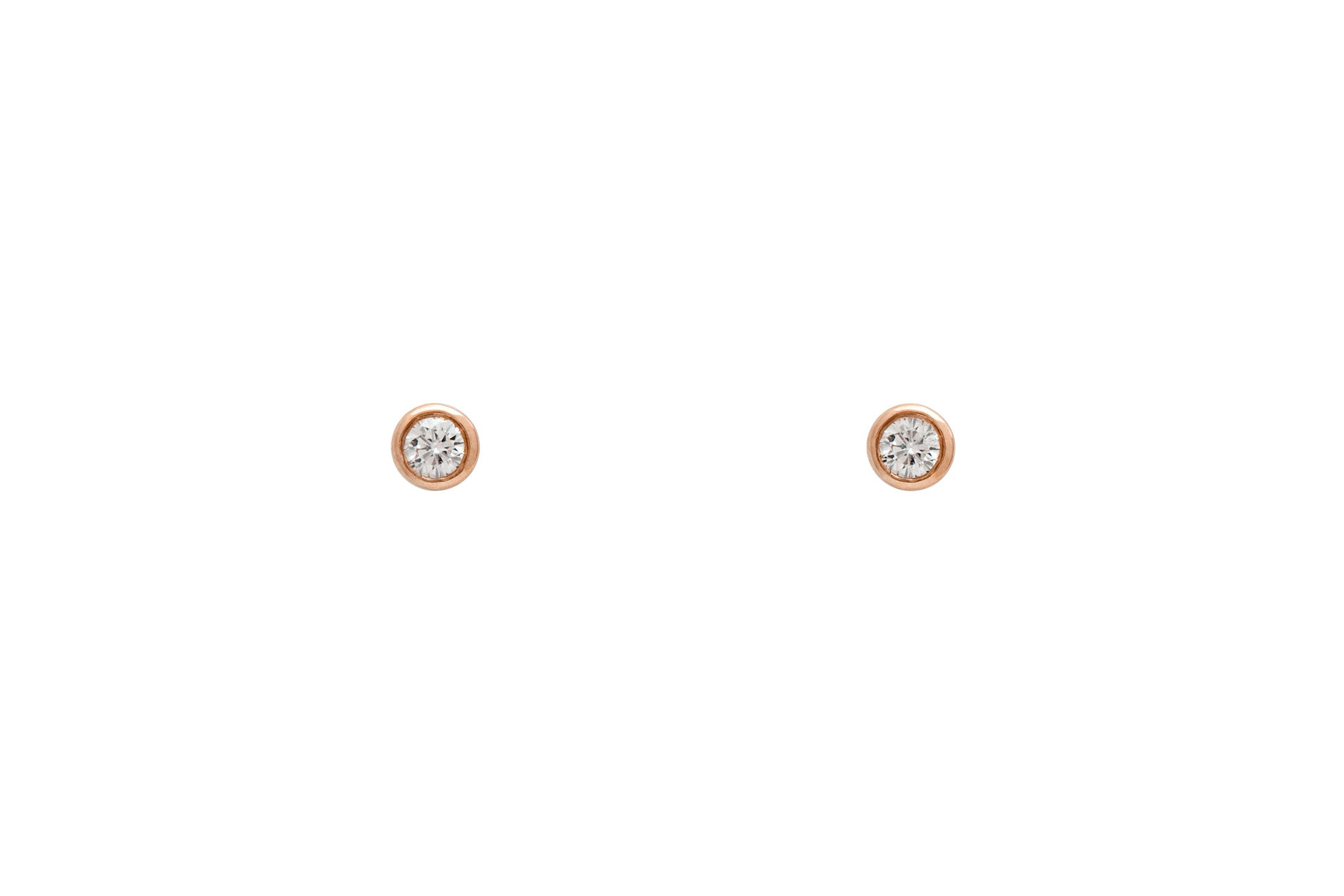 14k Rose Gold Genuine Diamond Bezel Set Stud Earrings E2224