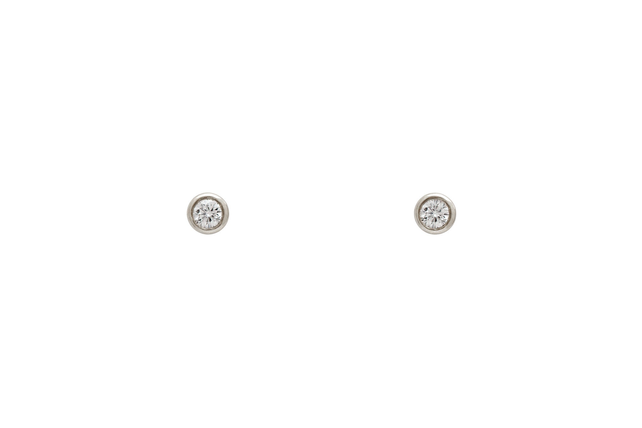 14k White Gold Genuine Diamond Bezel Set Stud Earrings