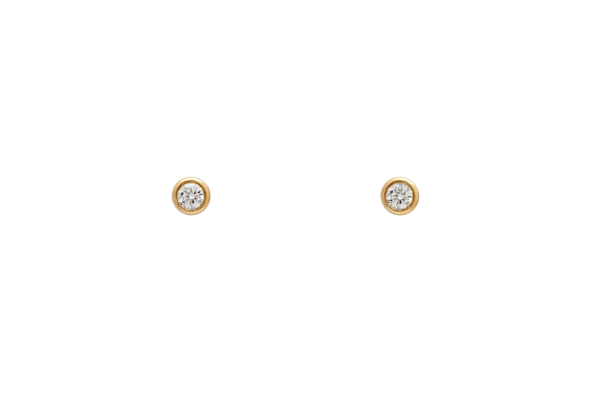 14k Gold Genuine Diamond Bezel Set Stud Earrings E2224