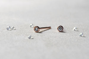 14k Rose Gold Circle Diamond Earrings
