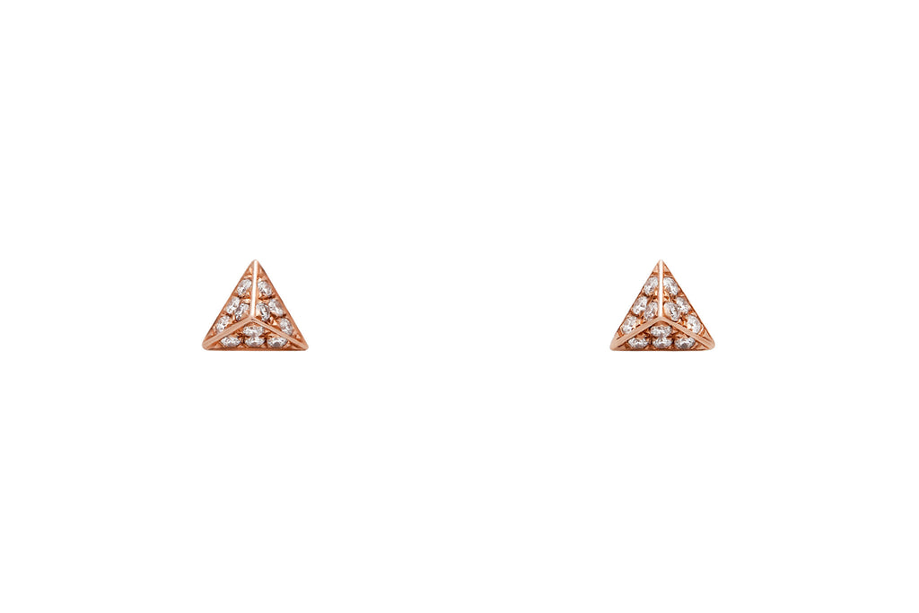 Rose Gold Diamond Pavé Pyramid Stud Earrings