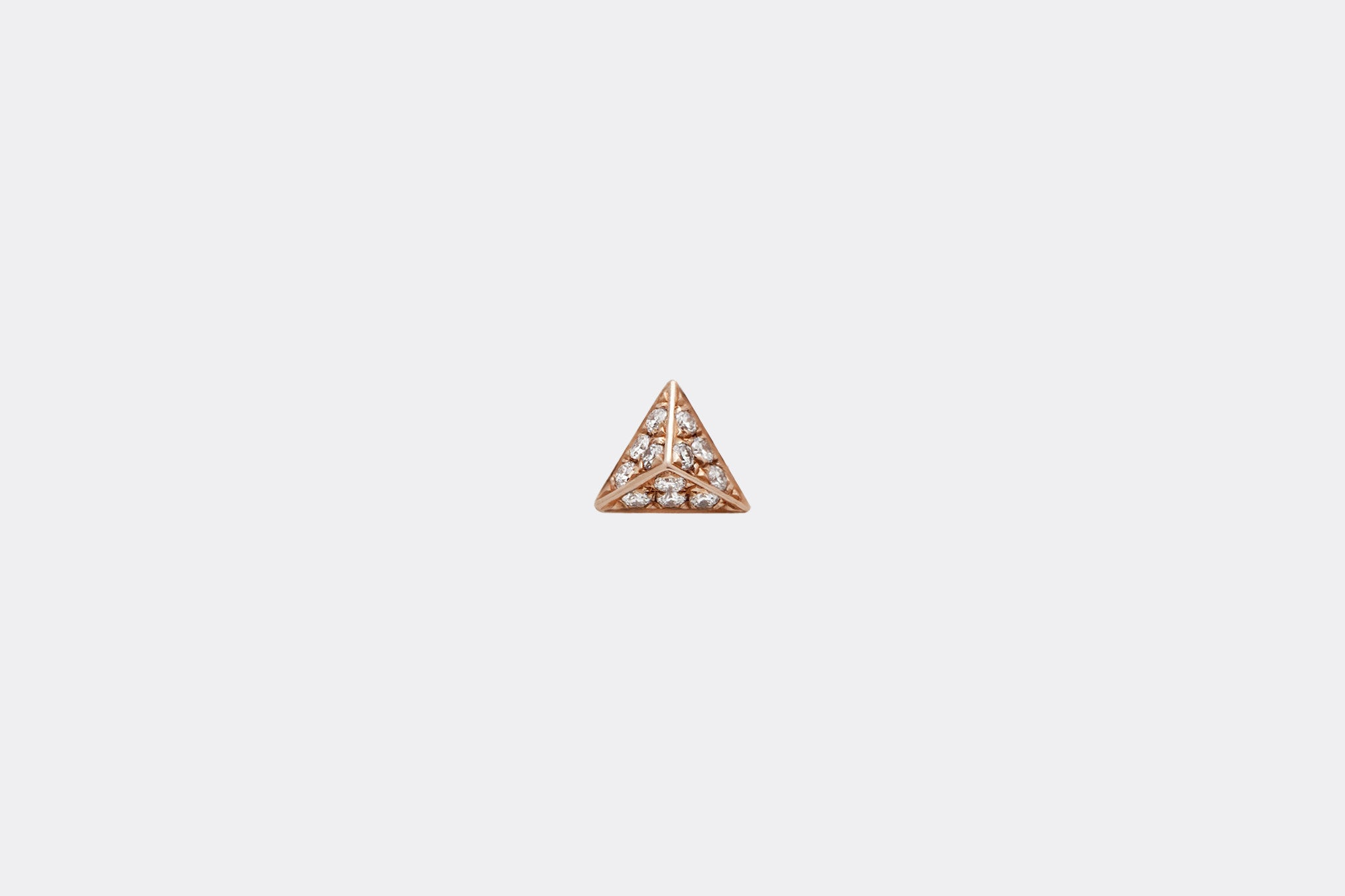 Rose Gold Diamond Pavé Pyramid Stud Earring