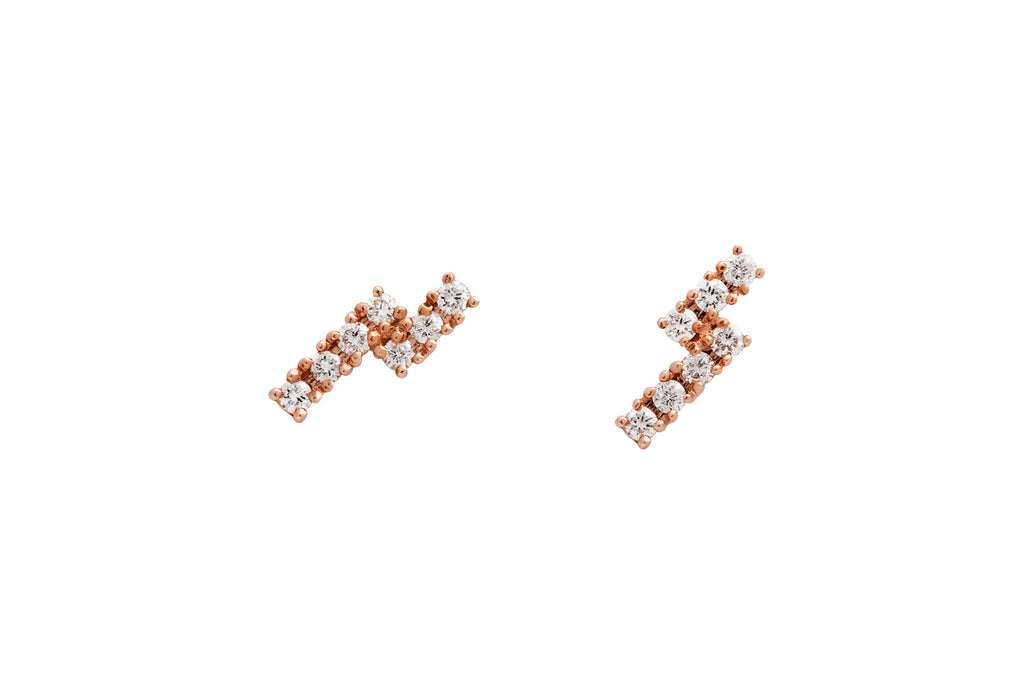 14k Gold Diamond Double Bar Stud Earrings E2245