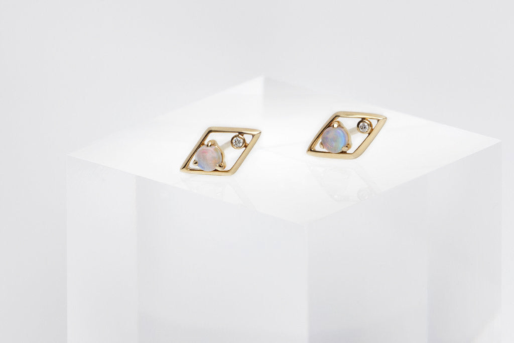 Opal Diamond Geometric Stud Earrings