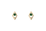 Emerald Diamond Geometric Stud Earrings