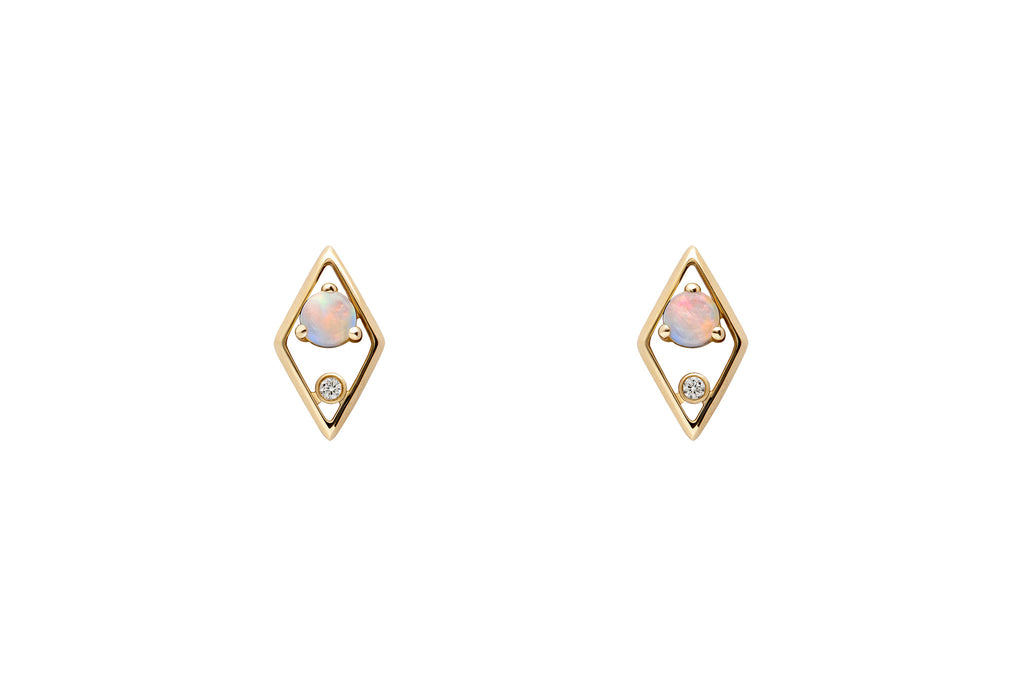 14k Gold Opal & Diamond Earrings - AIMER E2260