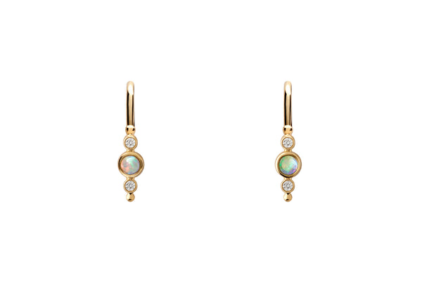 14k Gold Opal & Diamond Ear Climber E2261