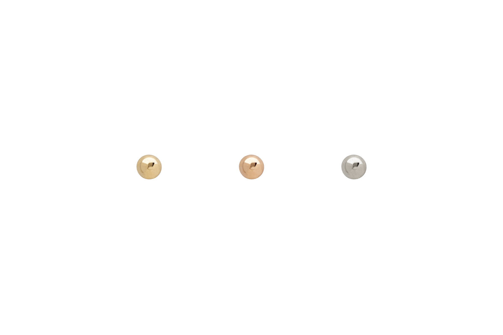 14k Gold Tiny Dot Stud Earrings Trio
