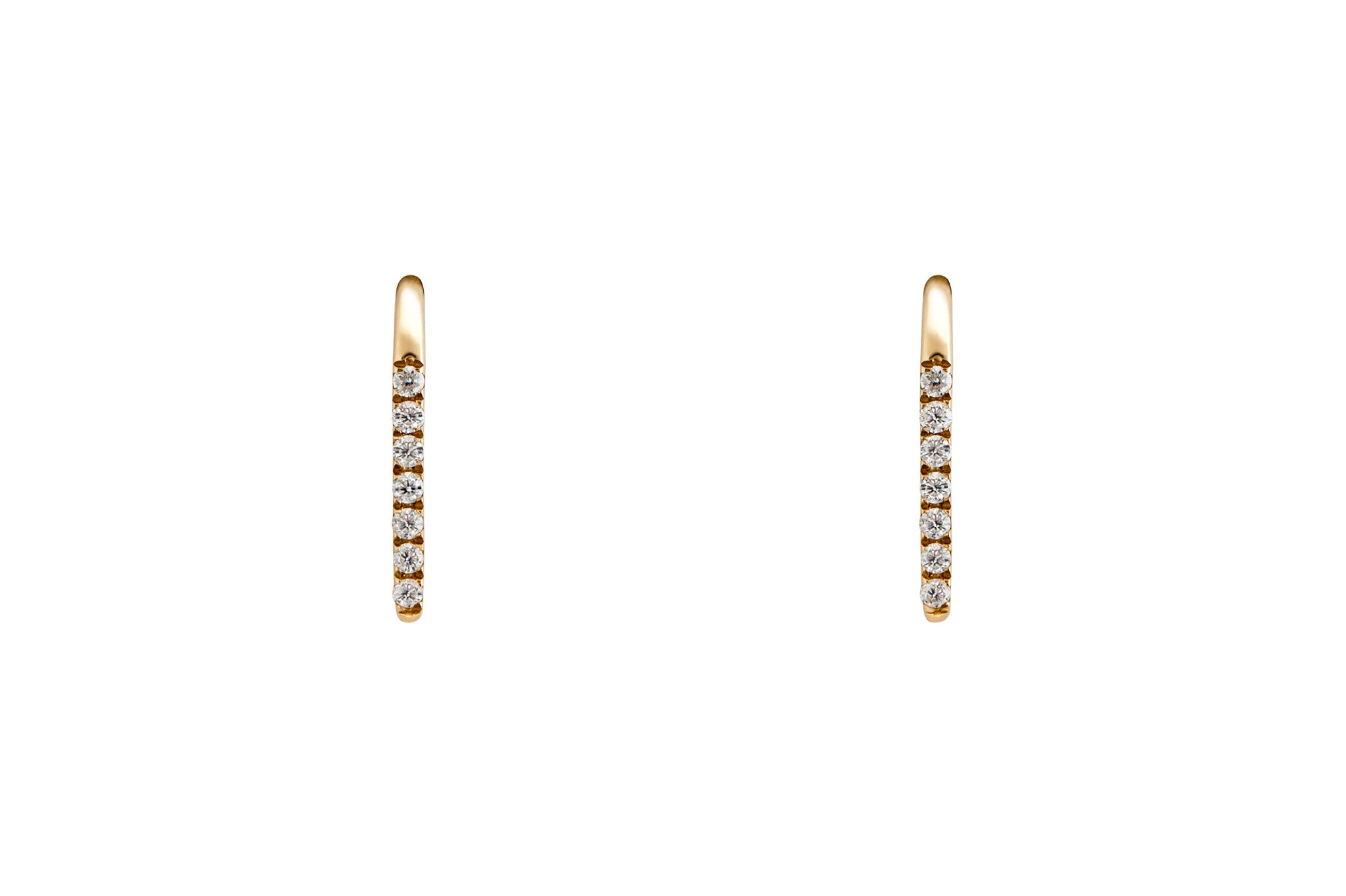 14k Gold Diamond Bar Ear Climber E2279