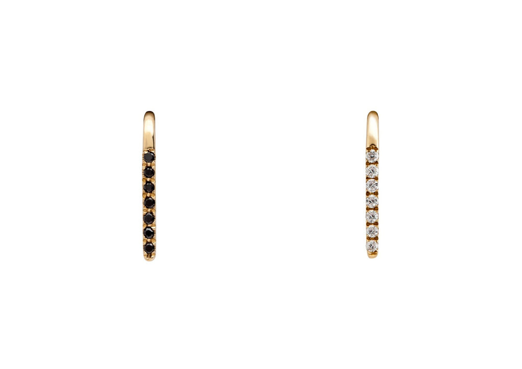 Mismatched Diamond Line Ear Climber Earrings