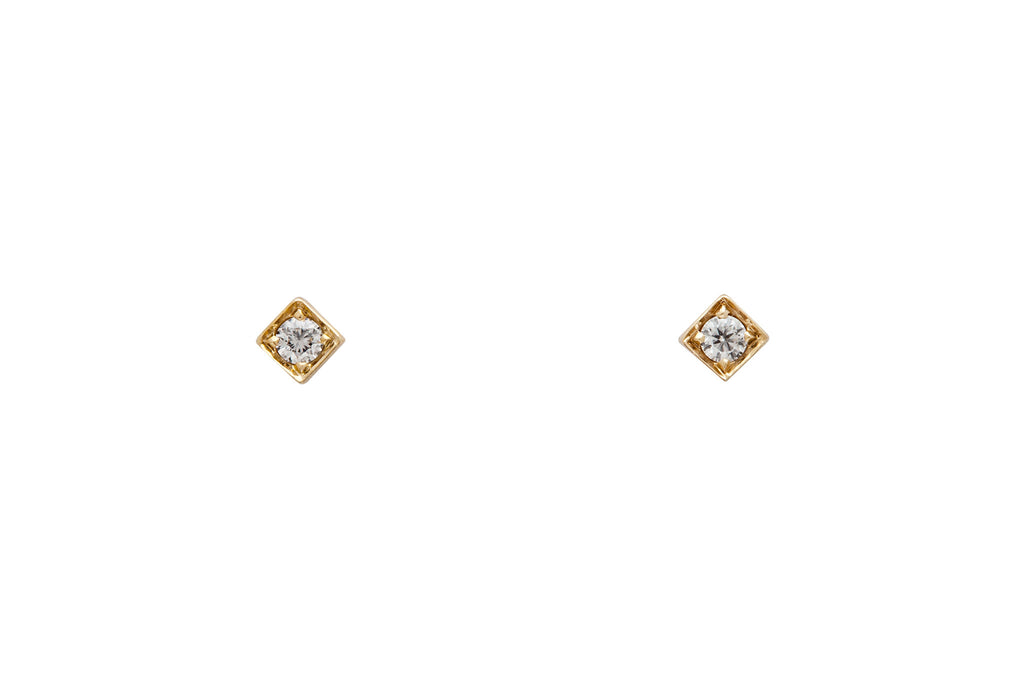 14k Gold Diamond Square Stud Earrings E2288