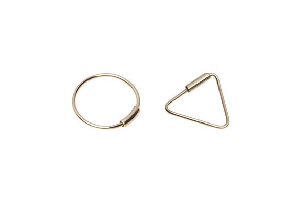 Mismatched Tiny Golden Triangle & Circle Hoop Earrings
