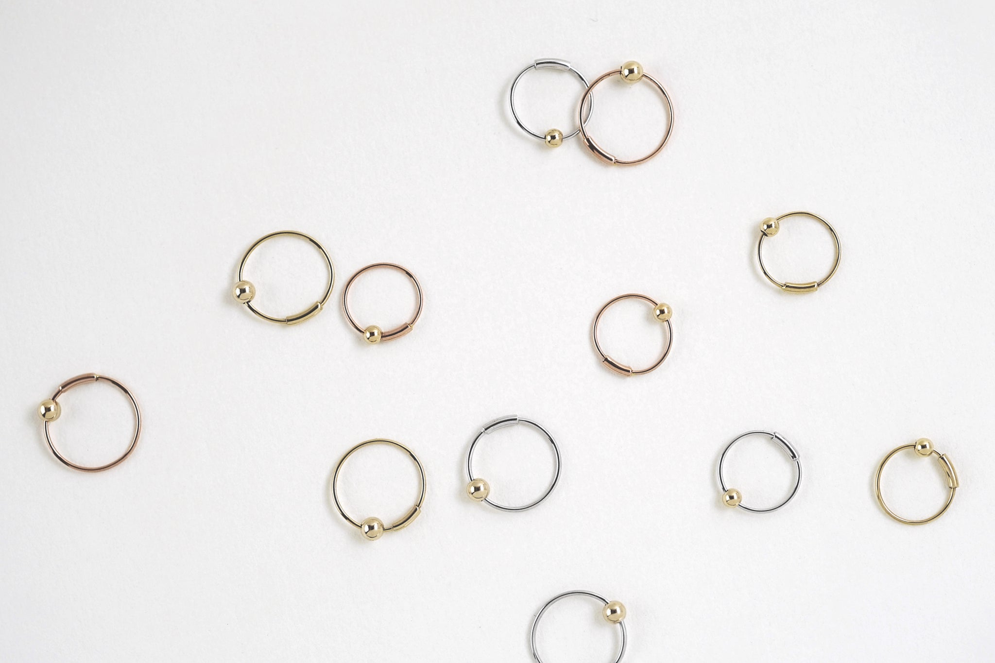 Tiny Floating Bead Gold Hoop Earrings