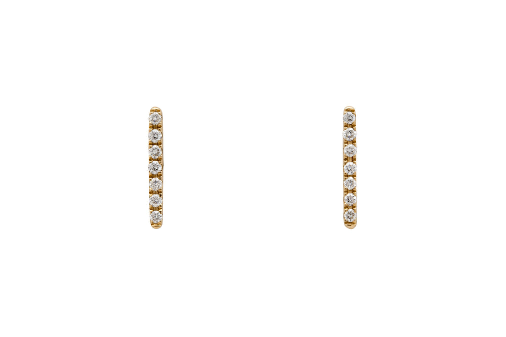 14k Gold White Diamond Line Earrings E2316