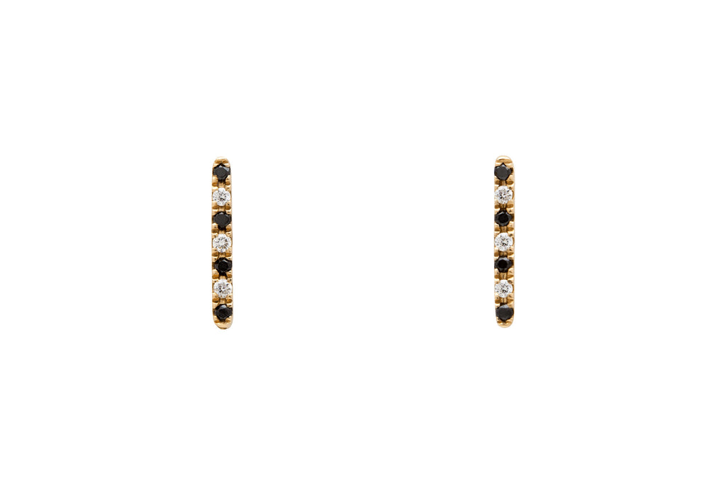14k Gold Black and White Diamond Line Earrings Gold E2317