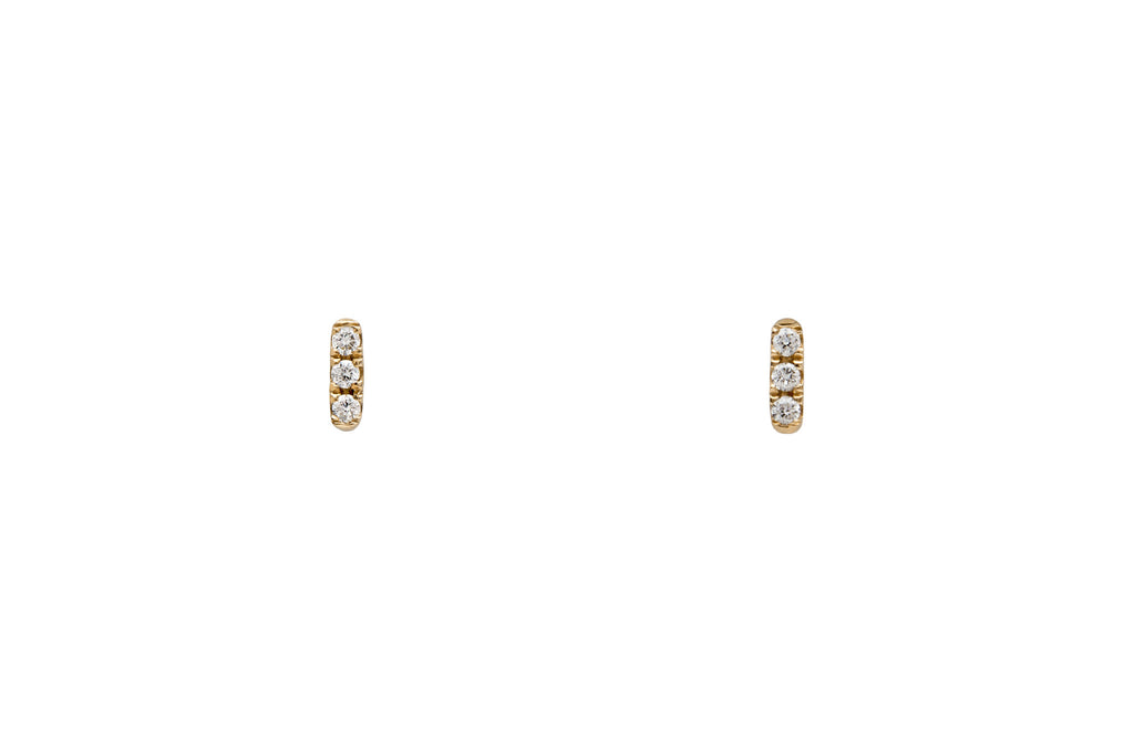 14k Gold Micropavé Three White Diamond Bar Earrings E2318