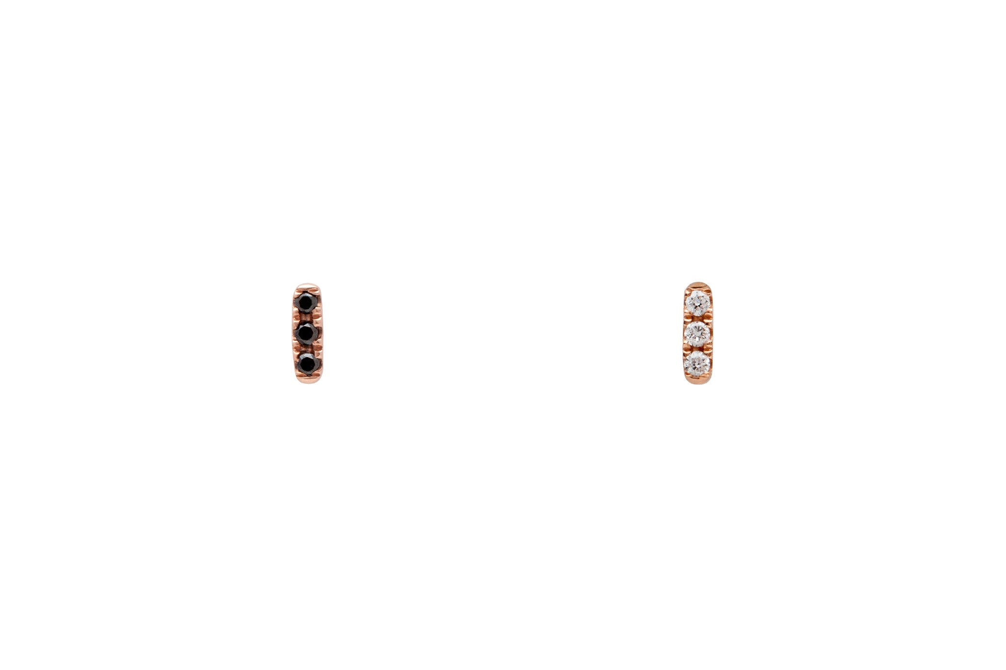 Mismatched 14k Rose Gold Tiny Diamond Bar Earrings E2318 E2319