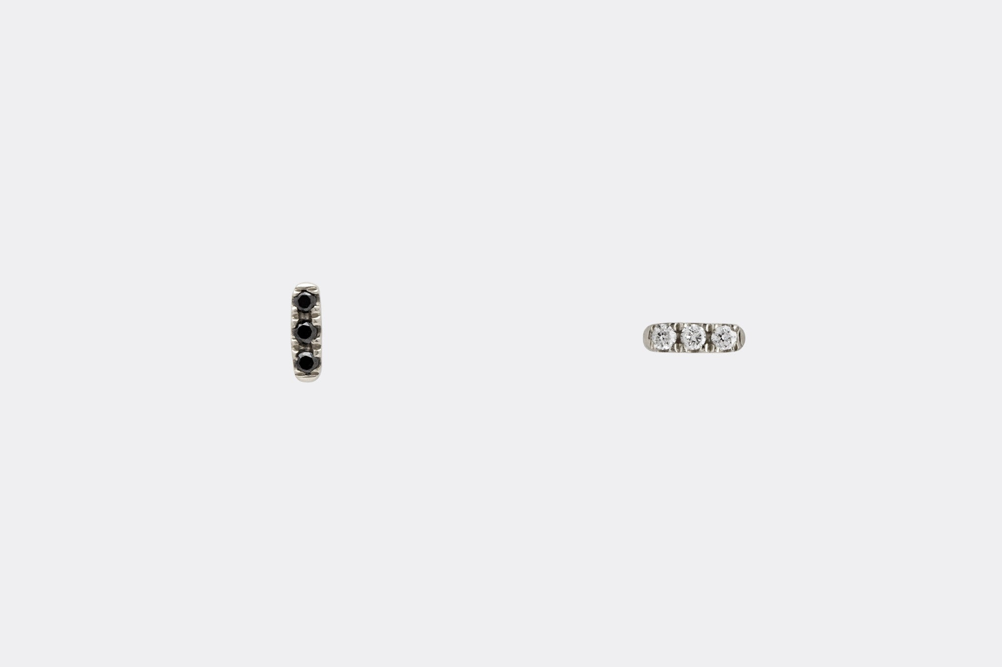 Mismatched 14k white Gold Tiny Diamond Bar Earrings E2318 E2319