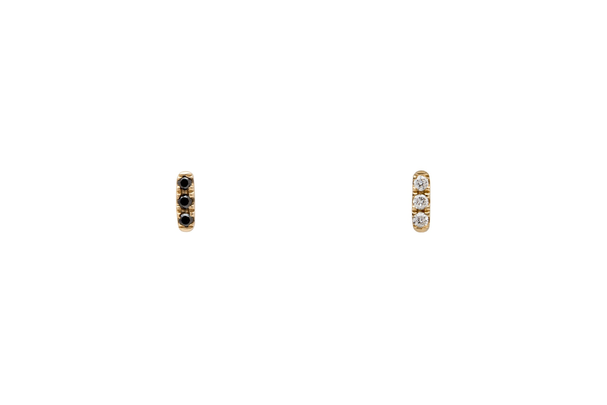 Mismatched 14k Gold Tiny Diamond Bar Earrings E2318 E2319