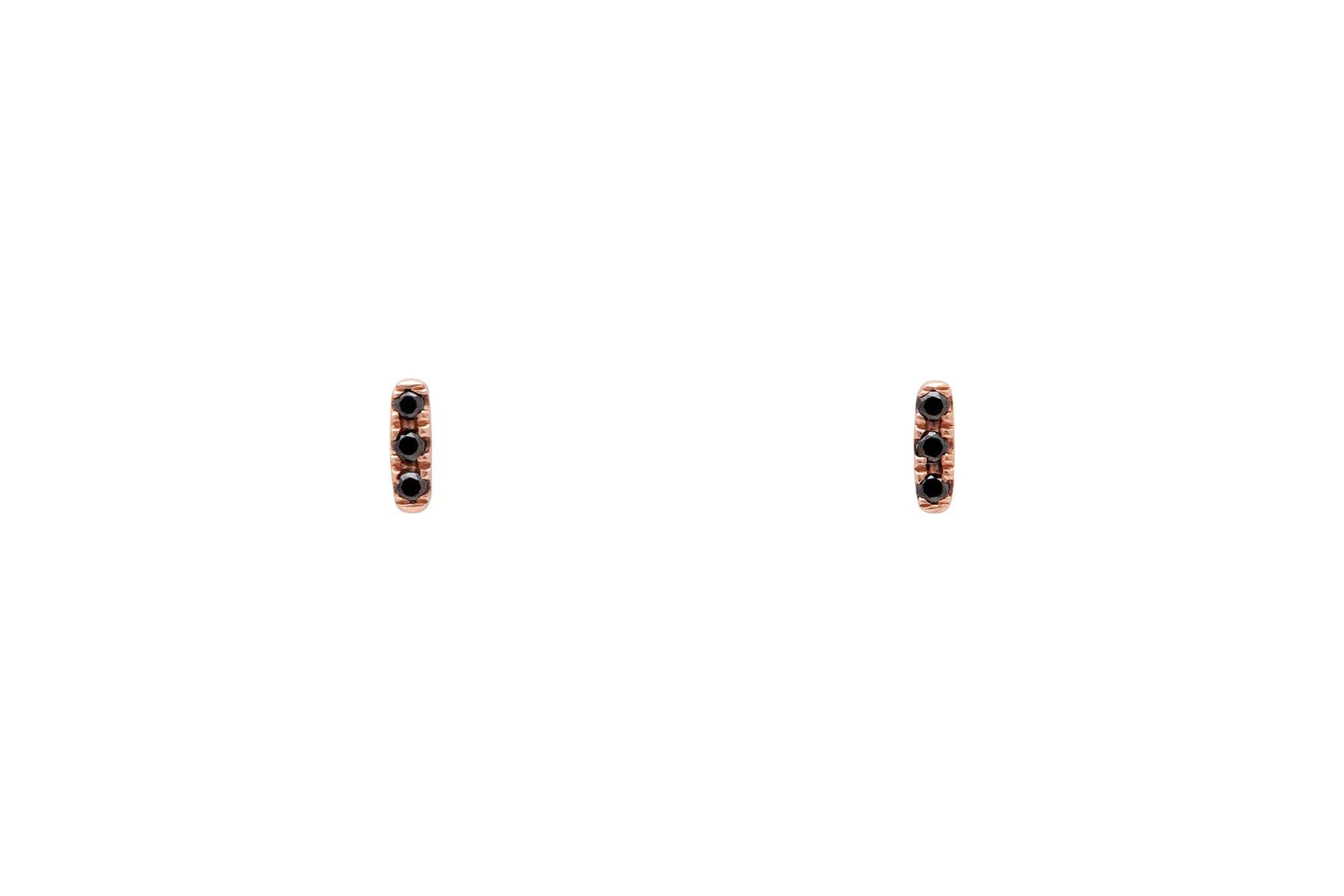 14k Rose Gold Micropavé Three Black Diamond Bar Earrings E2319