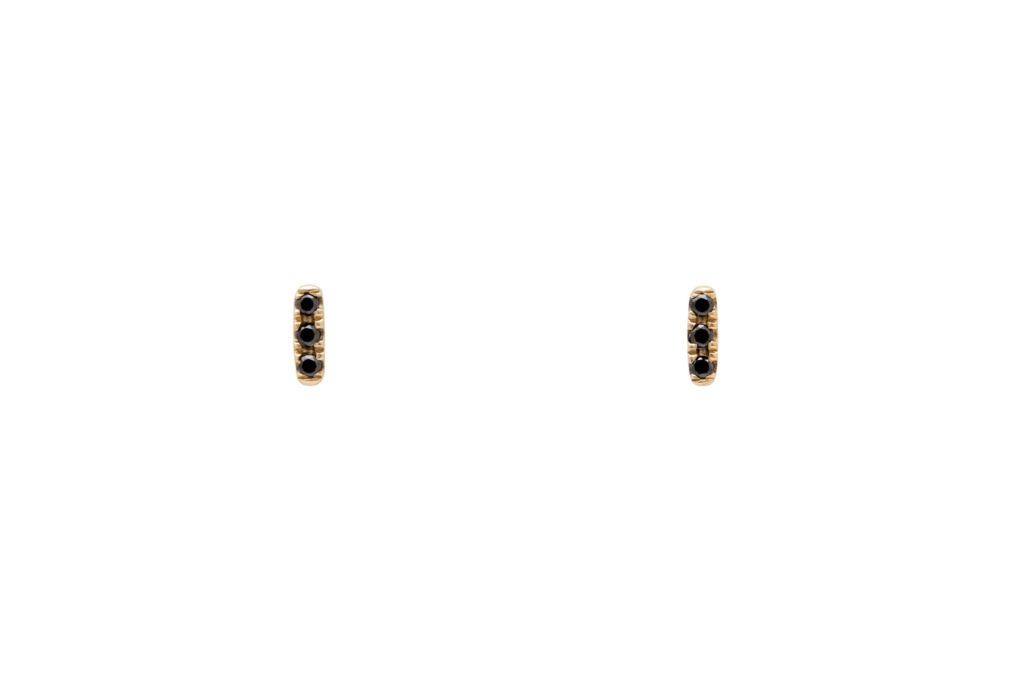 14k Gold Micropavé Three Black Diamond Bar Earrings E2319