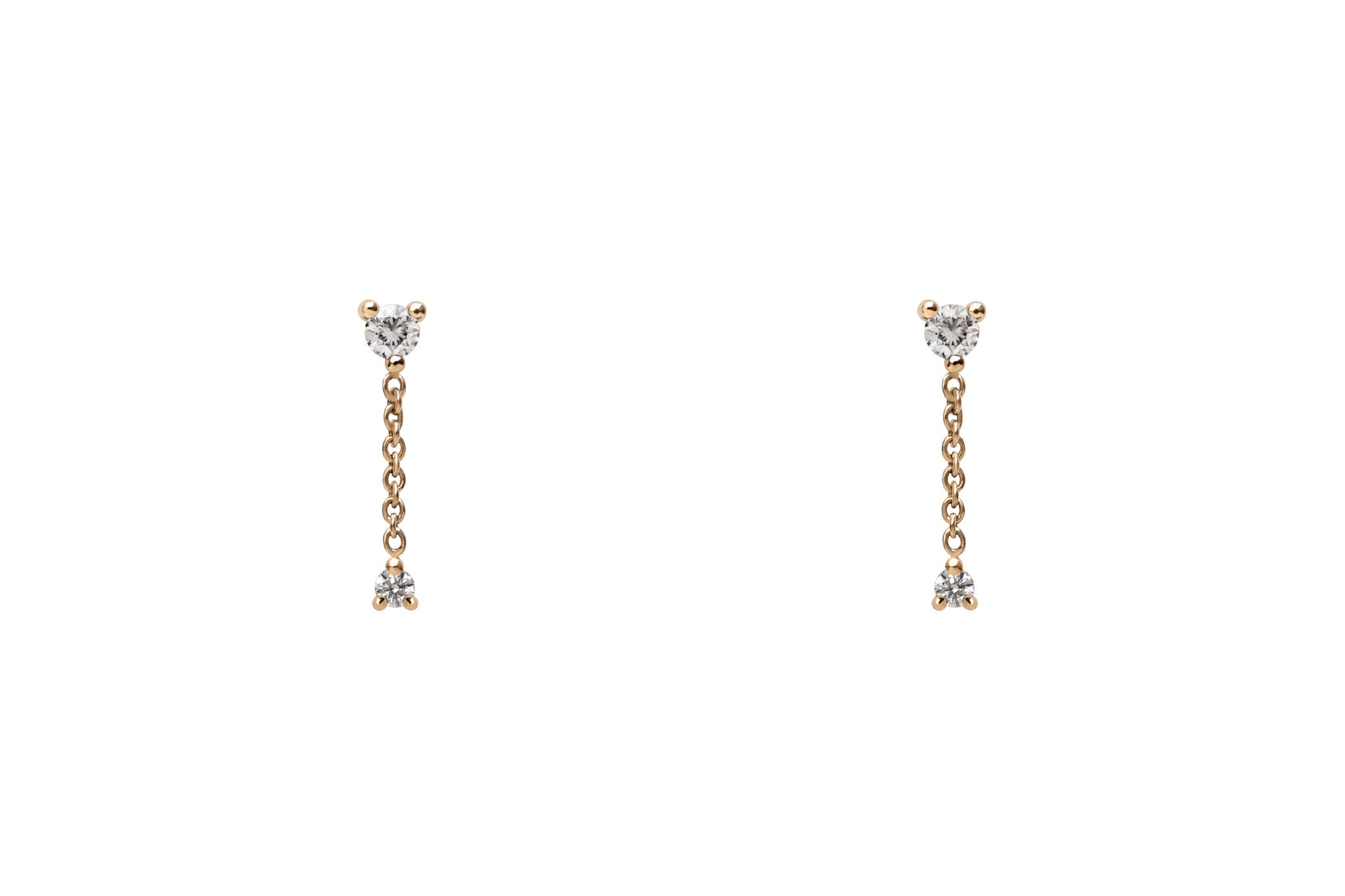 14k Gold Diamond Chain Drop Earrings E2327