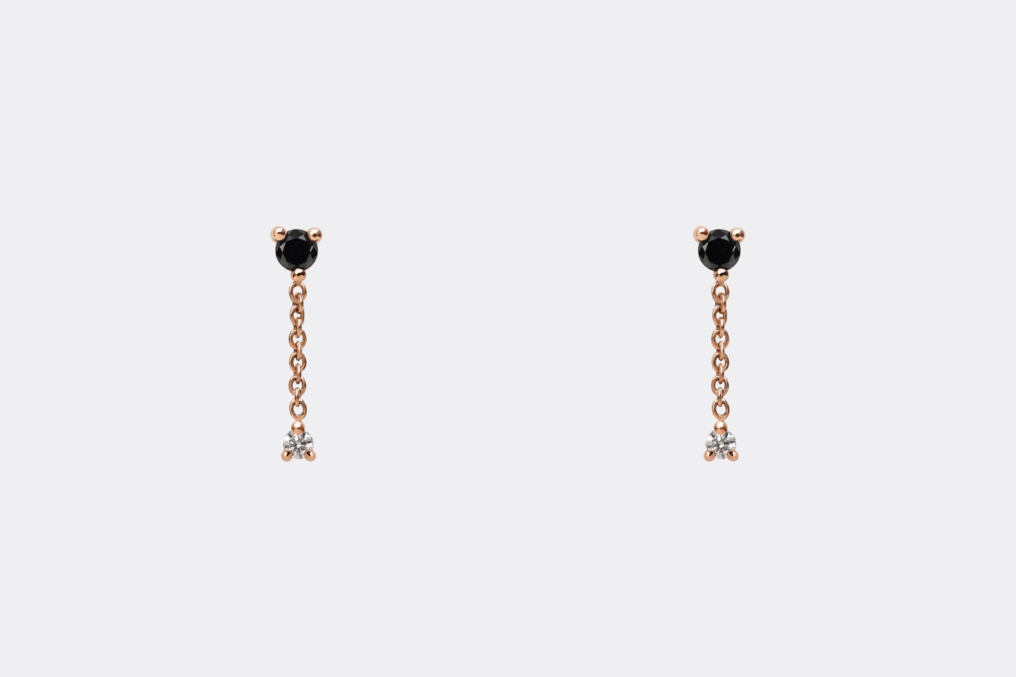 14k Rose Gold Black and White Diamond Chain Drop Earrings