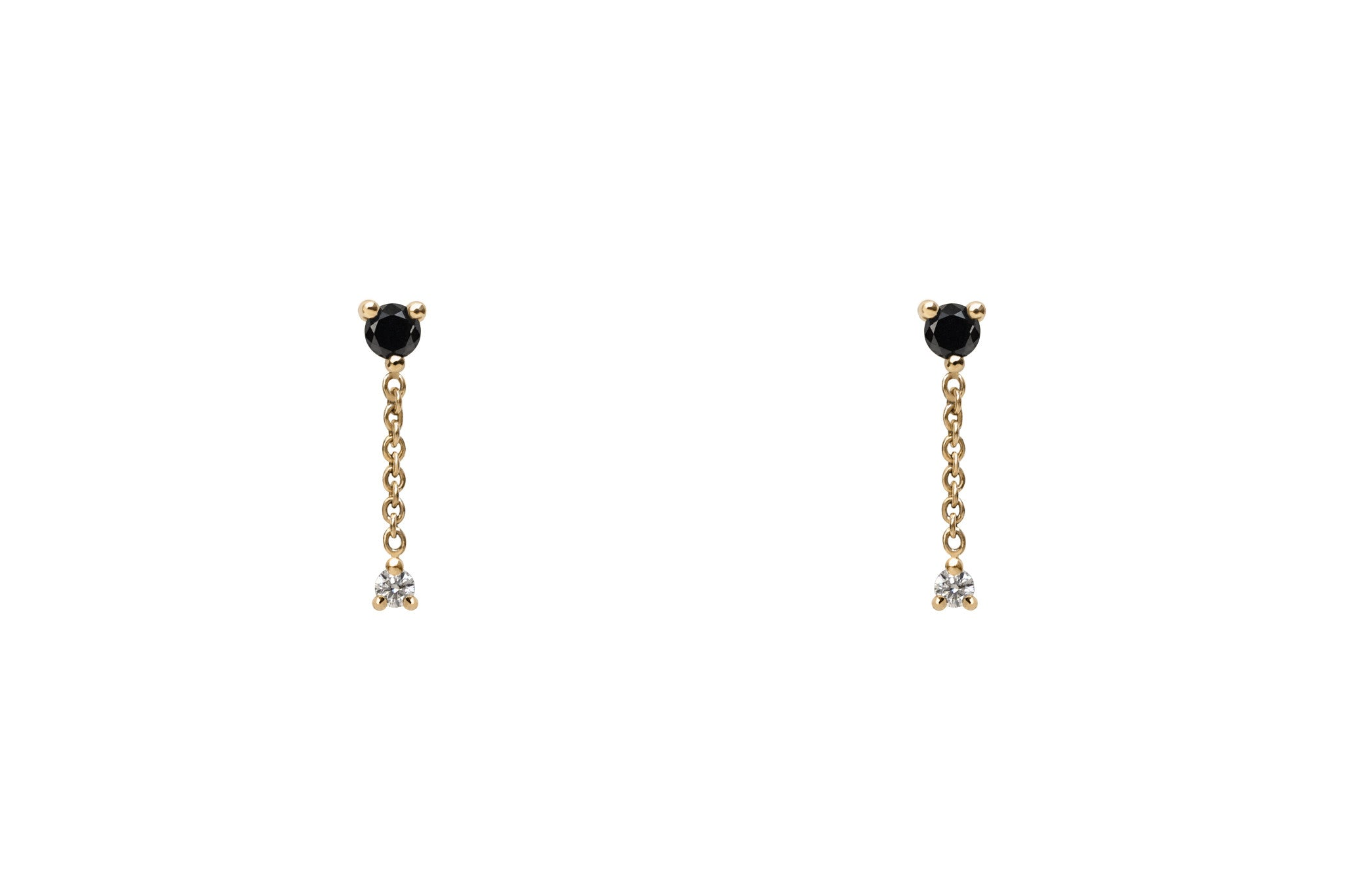14k Gold Black and White Diamond Chain Drop Earrings E2328