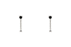 14k White Gold Black and White Diamond Chain Drop Earrings