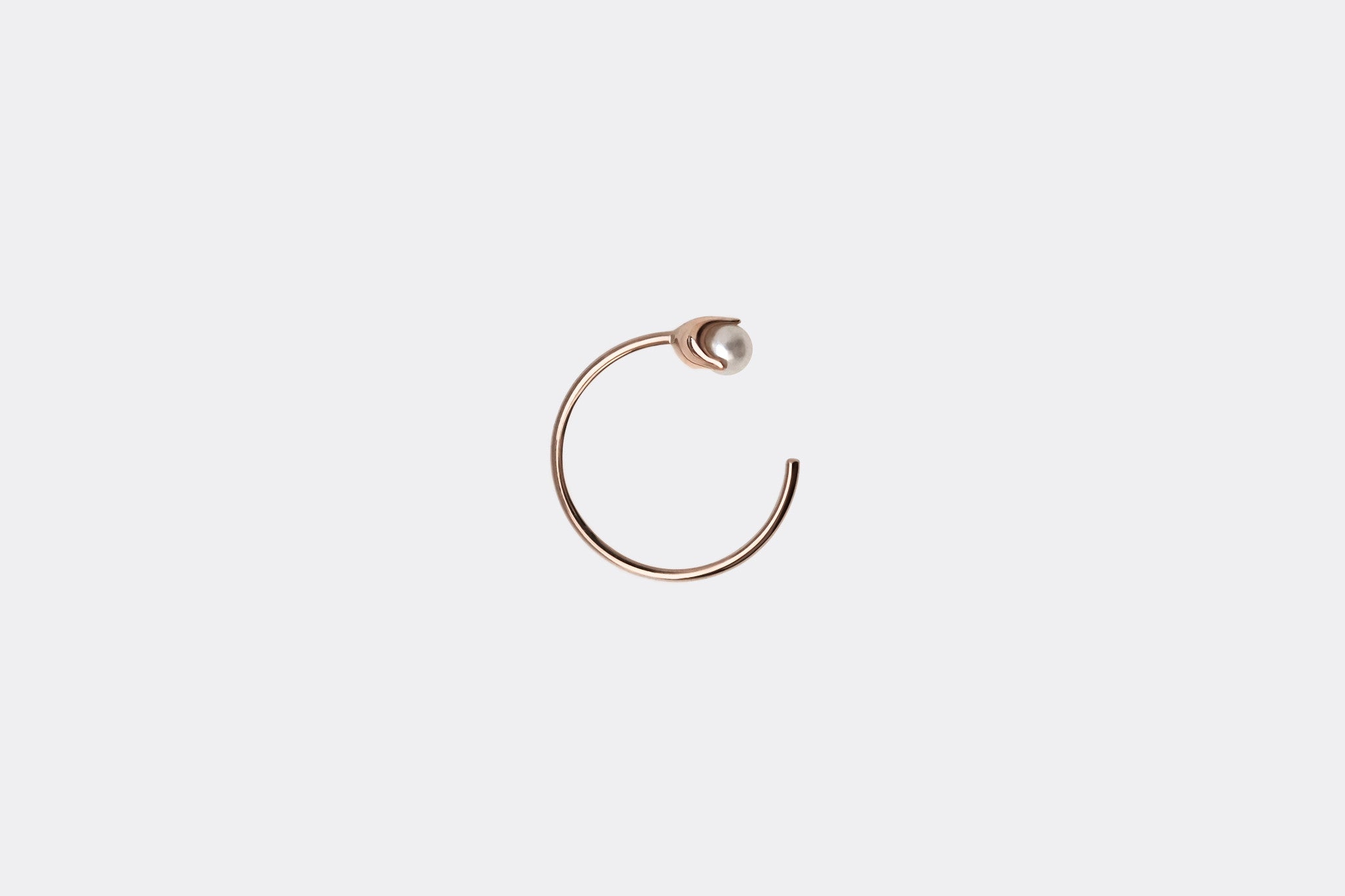 Rose gold Tiny Pearl Hoop Earrings E2332