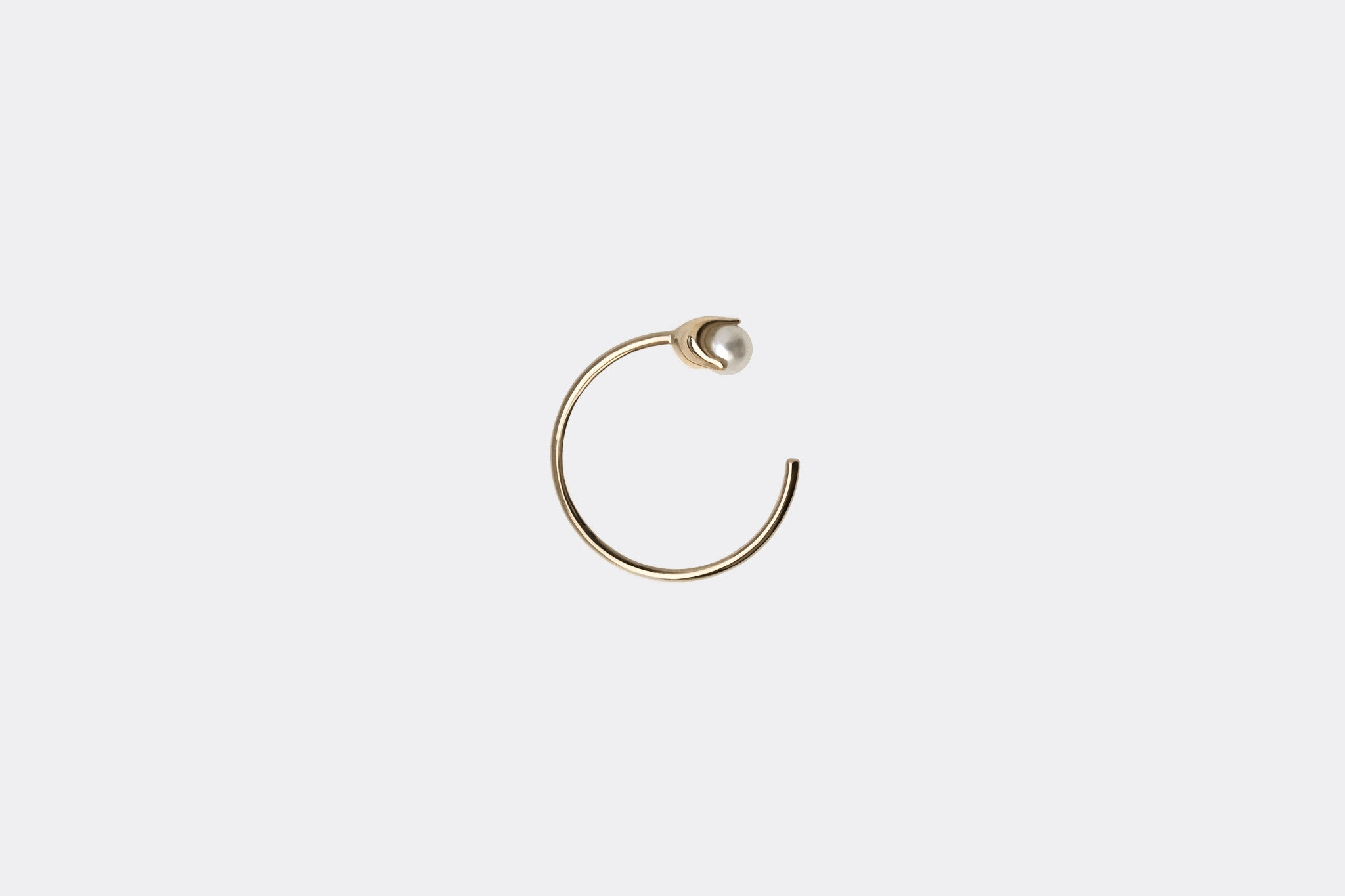 Gold Tiny Pearl Hoop Earrings E2332