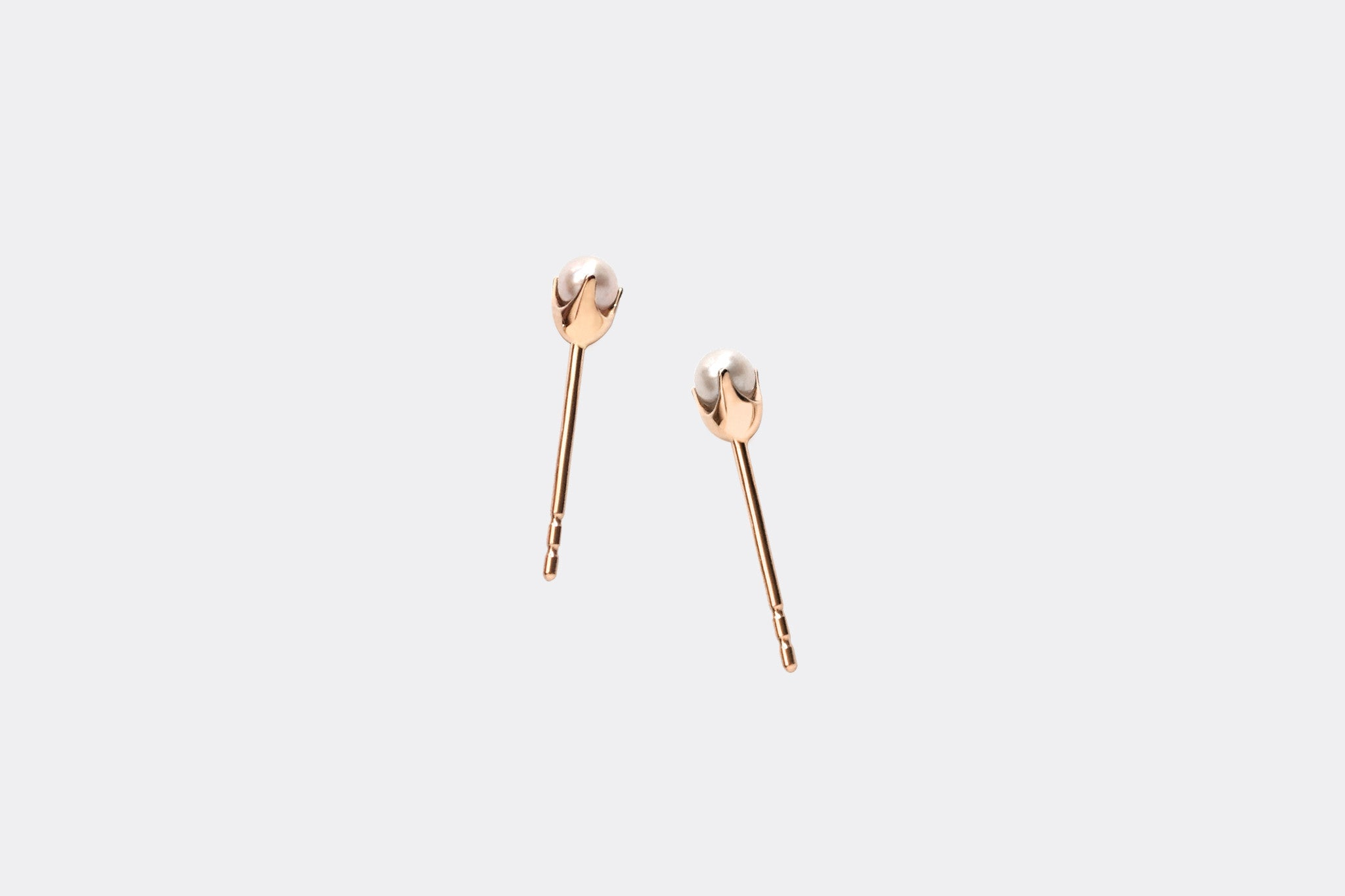 14k Rose Gold Small Pearl Stud Earrings E2333